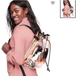 PINK VS   iridescent , logo backpack